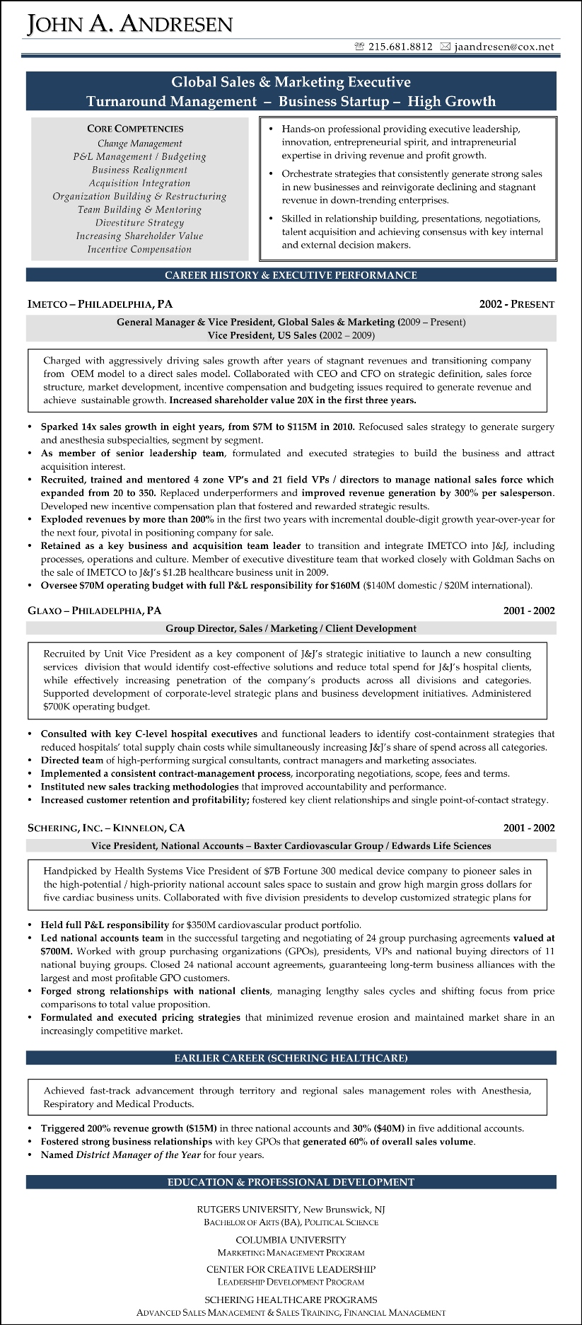 Sample Resume   John Andresen (Sales And Marketing)